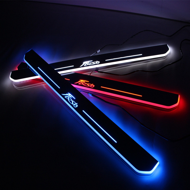 LED door sill for Ford Fiesta 2013 2014 2015 Led moving door scuff plate welcome pedal accessories<br><br>Aliexpress
