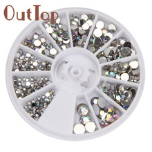 OutTop New Fashion Round Pretty 3D Acrylic Nail Art Gems Crystal Rhinestones DIY Decoration Wheel 300PCS Manicure Decoration