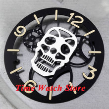 Parnis 38.9mm Skull face black Sterile dial silver marks watch dial fit for 6497 movement D37