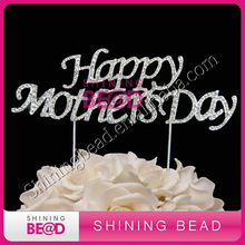 high quality rhinestone cake topper for happy mother's day,free shipping,new design(China)