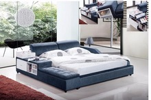 blue velvet modern fabric soft bed contemporary bedroom furniture made in China with ottoman