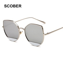 SCOBER Name Brand Design Women Star Style Luxury Alloy Frame Sun Glasses Fashion Side Cover Reflective Mirror Eyeglasses SA04