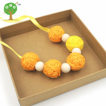 crochet voodoo ball necklace beaded necklace cotton for women fiber light jewelry 25mm summer color winter necklace NW196