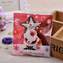 100pcs OPP Santa Claus and Snowflake Style Self-adhesive Candy Biscuits Snack Baking Christmas Gift Packaging Bags B092(China)