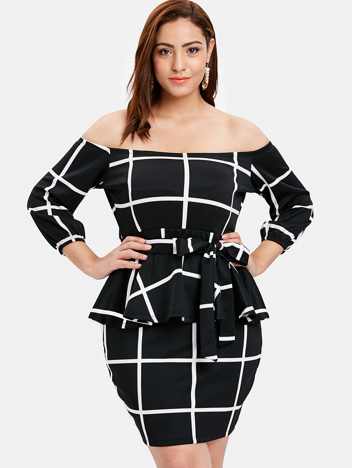 Silhouette Bodycon Dresses Length Mini Neckline Off The Shoulder Sleeve  Length 3 4 Length Sleeves Pattern Type Plaid With Belt Yes Season Fall  338da4817003