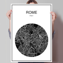 Italy ROME Modern poster World City map Oil Painting Canvas Coated Paper Abstract Cafe Bar Living Room Home Decor print picture