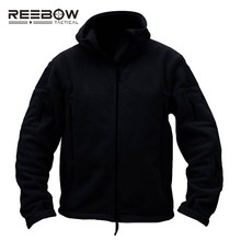 REEBOW TACTICAL Men Military Hiking Fleece Jacket Winter Outdoor Sports Hood Coat Lightweight Thermal Paintball Airsoft Outwears(China)