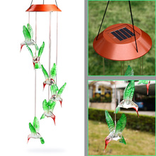Hot Fashion Outdoor Hummingbird Wind Chimes Home Garden Decor Solar Light Solar Color-Changing Wind Chime Light Led Solar Light(China)
