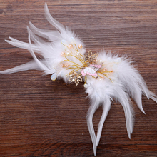 Handmade Feather Butterfly Wedding Hair Barrette Large Pearl Bridal Hair Clip For Bride Hair Accessories