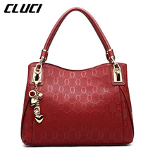 CLUCI Luxury Handbags Women Bags Split-Leather Black/Golden/Red Zipper Small Shoulder Bags Casual Totes Top-handle Bag Branded