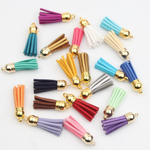 100Pcs Satin Silk Tassel Findings For Keychain Cellphone Straps With Gold Caps Fringe DIY Jewelry Charms Pendant Tassel(China)