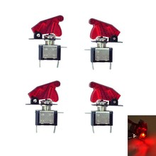 4 Pcs New Design 12V Car Red LED Light Illuminated Cover SPST Toggle Switch Control(China)