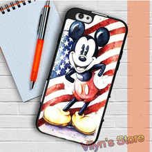 Mickey Mouse Retro Usa Flag  Case cover for samsung galaxy S3 S4 S5 S6 S6 edge S7 S7 edge Note 3 Note 4 Note 5 #XC2380