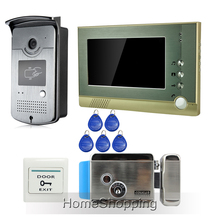 "Free Shipping Home Wired 7"" Color Video Door Phone Intercom System + 1 RFID Access Outdoor Camera + 1 Monitor + Electric Lock"
