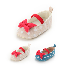 Polka Dots Baby Shoes Red Bow Butterfly-knot Prewalkers Soft Soled Baby Girls Mary Jane Shoe Toddler First Walkers