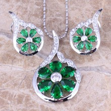 Unusual Green  Cubic Zirconia White CZ 925 Sterling Silver  Earrings Pendant Necklace  Jewelry Sets S0789