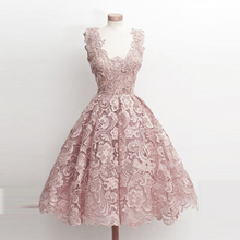 2016 Cocktail Dress Noble Elegant A-line V-neck Sleeveless Sexy Short Perspective Lace Church Lawn Prom Party Most Popular