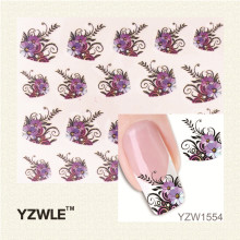 YZWLE New Arrival Water Transfer Nail Art Stickers Decal Beauty Purple Flowers Black Leaf Design Manicure Tool