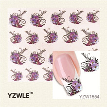 YZWLE New Arrival Water Transfer Nail Art Stickers Decal Beauty Purple Flowers Black Leaf Design Manicure Tool(China)
