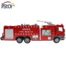 Six Wheeled Fire Engine with Water Pistol Alloy Diecast Truck Model Educational Toy Car for Kids