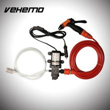 Vehemo 12V High Pressure Car Electric Washer Wash Pump Clean Kit 130PSI 6L/Min 70W Auto Care Set Portable Washer