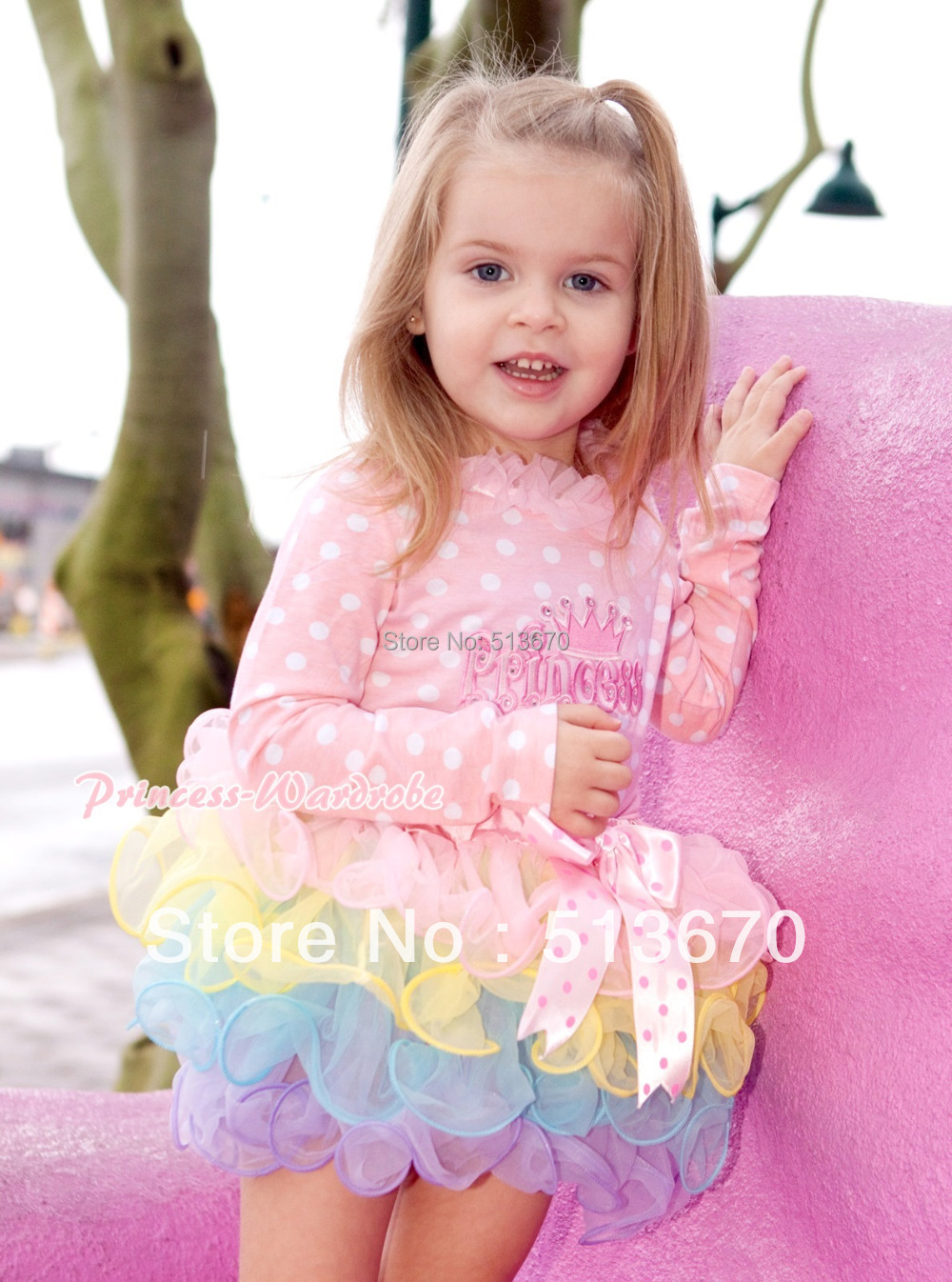 Light Hot Pink Dots Bow Pink Rainbow Petal Pettiskirt with Princess Light Pink White Dots Long Sleeve Top Pink Lacing MAMW302<br>