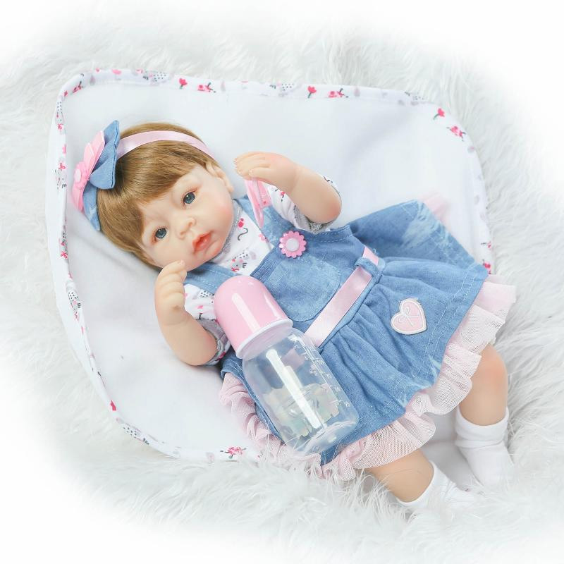 42cm Babies reborn girl doll handmade dolls soft silicone vinyl fashion Denim skirts lifelike bonecas reborn baby toys for kids<br><br>Aliexpress