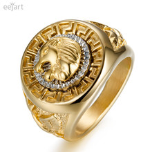 eejart 316L Stainless Steel ring for men Lion head Rings(China)