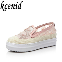 High quality mesh sweet flowers loafers round toe slip on shoes woman fashion platform summer white pink shoes plus size 32-43