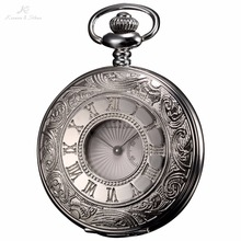 KS Skeleton Silver Case Steampunk Japan Movement Quartz Roman Male Clock Pendant Fob Chain Men Jewelry Pocket Watch Gift /KSP018