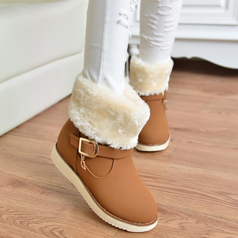 2017 Winter New Fashion Plush Women Snow Boots Platform Flat Women Mid-Calf Boots Shoes Black Brown Women Boots Plus Size XP35<br><br>Aliexpress