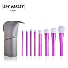 2017 KAY GARLEY new 8pcs makeup brush set with boutique pu leather bag 3 colors