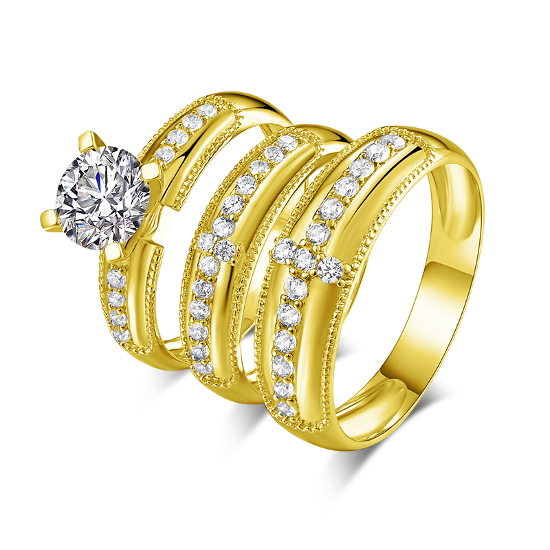 14K Or Blanc Finition Véritable Diamant Fiançailles Mariage Bridal Trio rings Set