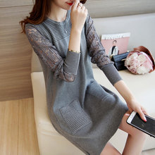 Autumn Winter knitted dress 2016 Fashion lady O Neck Casual Bodycon Casual Dresses with Lace Patchwork Long Sleeve Gray /Black