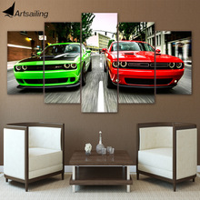 HD Printed Challenger green red cars Painting Canvas Print room decor print poster picture canvas Free shipping/ny-4310(China)