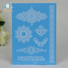 LS625e/Waterproof  Latest Design White Henna Ink Lace Temporary Flash Tattoo Inspired Sticker