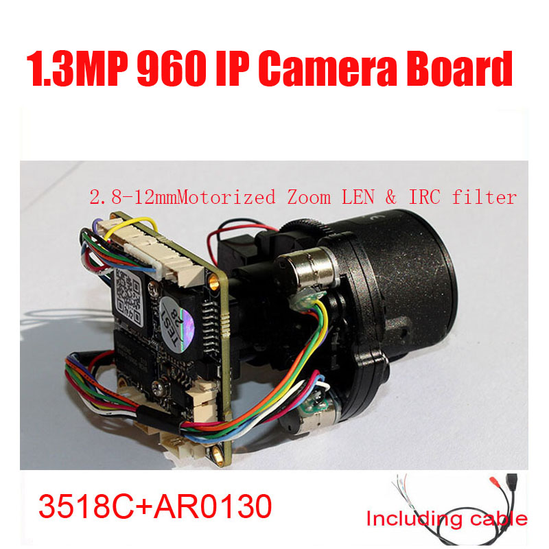 DIY HD IP Camera Module 960P AR0130 HI3518C 1.3MP 2.8mm ~ 12mm Motorized Zoom LEN &amp; IRC filter Camera Module Free Shipping<br>