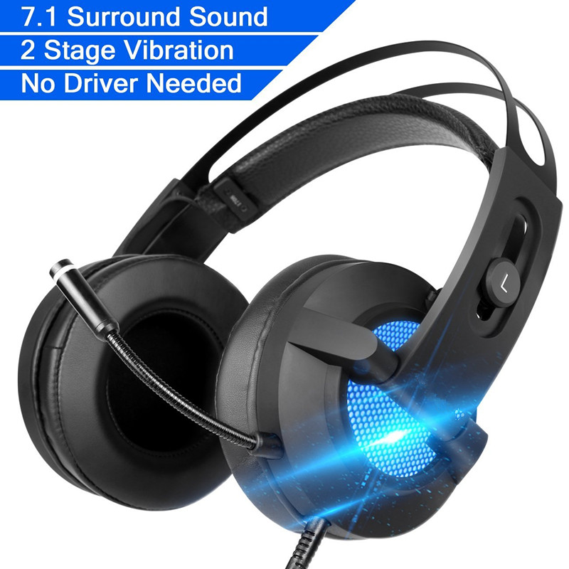 Gaming Headphones ihens5 USB 7.1 Surround Sound Stereo Vibration Over-ear Game Headset with Mic LED Light for PC Computer Gamer <br>