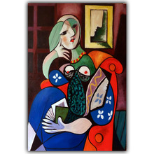 Picasso Abstract Paintings Woman With Book Modern Art Image For Home Decoration Silk Canvas Fabric Print Poster Wallpaper CX191