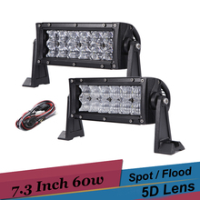 7'' 60w LED Work Light 5D Off Road LED Light Bar for Ford Escape Chevrolet Silverado Suv Trailer Truck 4x4 AWD Reverse Fog Light