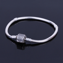 Buy Authentic 925 Sterling Silver Barrel Clasp Bracelet Basic CZ Snake Chain Fit European Charms Bracelets DIY Women Fashion Jewelry for $19.99 in AliExpress store