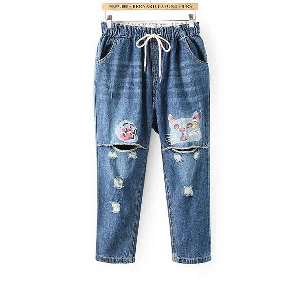 Hole cat  print elastic waist Drawstring jeans Ankle-Length pants mori girl 2017 summerОдежда и ак�е��уары<br><br><br>Aliexpress