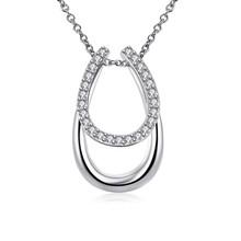 1 Pc Lucky Rhinestone Double Horse Hoof Horseshoe Pendant Necklace Jewellery Colar silver colour