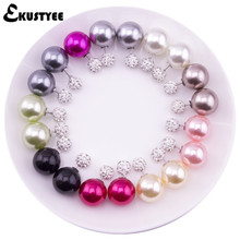 EKUSTYEE Brand 10 pairs/lot Women Pearl Earrings in Jewelry Crystal Small Ball Double Sided Earring Female Jewellery