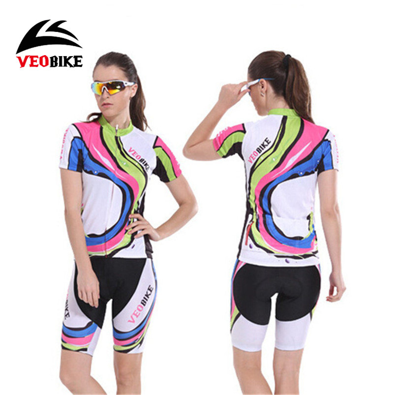 Veobike Breathable Wicking Jersey Short-Sleeved Suit Women Bicycle Cycling Jersey Set with 3D Padded Shorts Bike Clothes Sets<br>