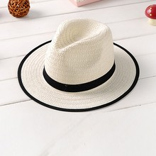 Summer Kids Fedora Straw Brim Cap Sun Jazz Hat Hats Boys Girls Beach Cap(China)