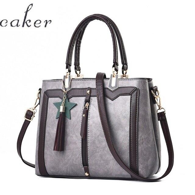 Caker Brand 2017 Women Large Big pu Leather Handbag Black Grey Shoulder Bag High Quality Women bag<br>