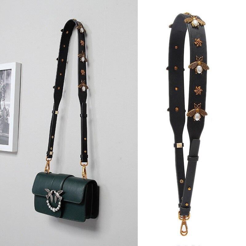 Fashion Gold Bee Leather Strap PU Handbag Accessories Replacement Wide Shoulder Bag Straps Women Design Corssbody Bag Strap Belt bande réfléchissante scooter orange pour fourche