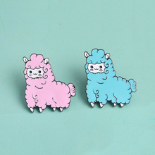 Lovely Animal Blue Pink Little Sheep Brooch Button Pins Coat Jacket T-shirt Pins Badge Gift Cute Cartoon Jewelry(China)