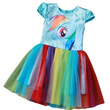 2017 New My Baby Girl Dress Children Girl little Pony Dresses Cartoon Princess Party Costume Kids Clothes Summer Clothing(China)
